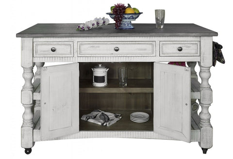 Greenview Rustic Farmhouse Kitchen Island, Solid Wood