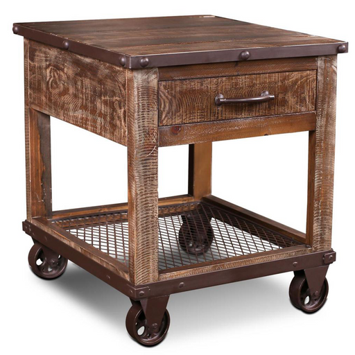 Addison Loft Caster Wheel End Table - Crafters and Weavers