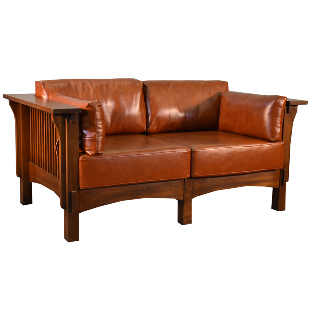 Arts and Crafts / Craftsman Crofter Style Love Seat - Russet Brown Leather (RB1)
