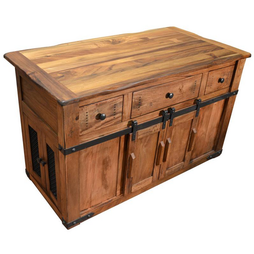 Granville Parota Kitchen Island - Crafters and Weavers