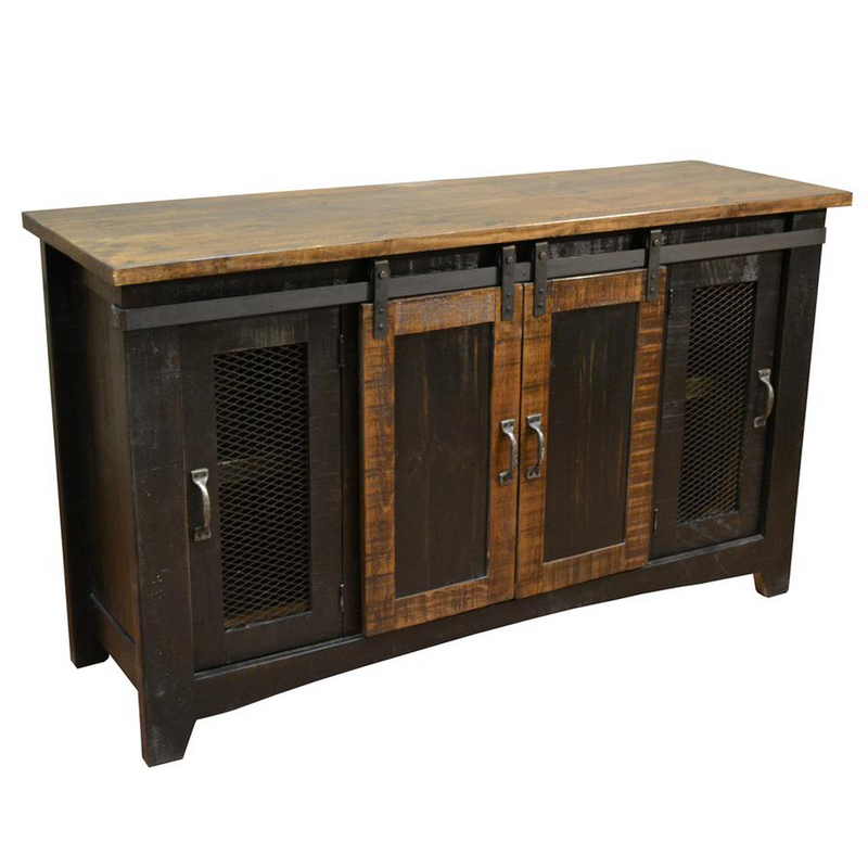 "Greenview 83"" Carved Panel TV Stand - Rustic Brown"