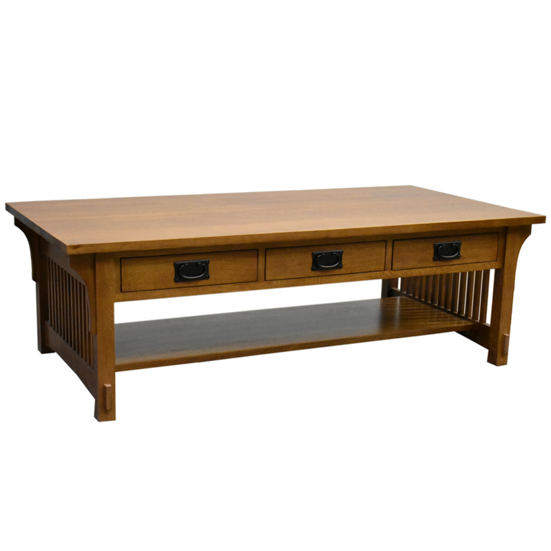 Crofter 4 Drawer Coffee Table with Spindles - Golden Brown