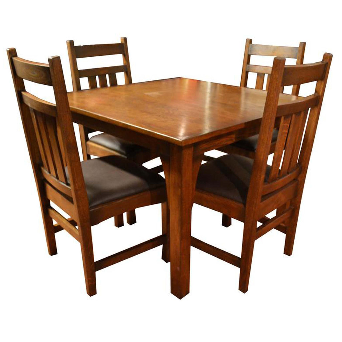 Mission Style White Oak Square Dining Table Set   9 Colors Available