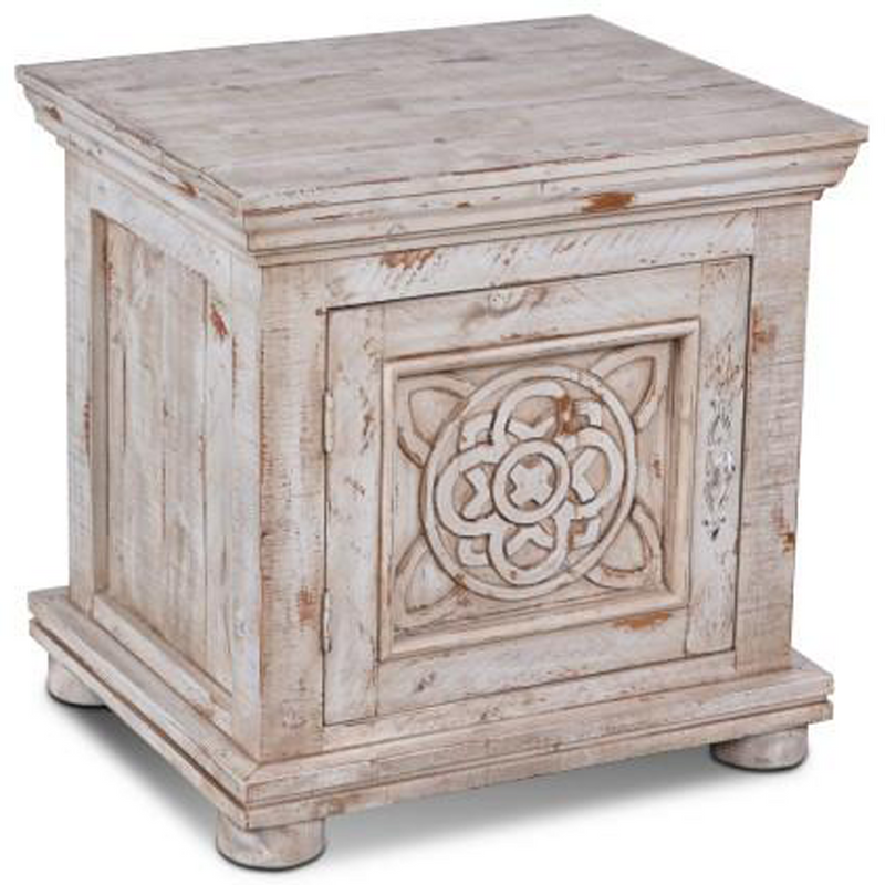 Keystone Carved End Table - White