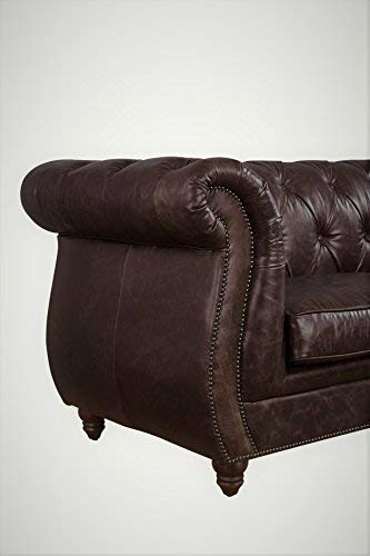 Rolled Arm Chesterfield Sofa - Dark Brown Leather