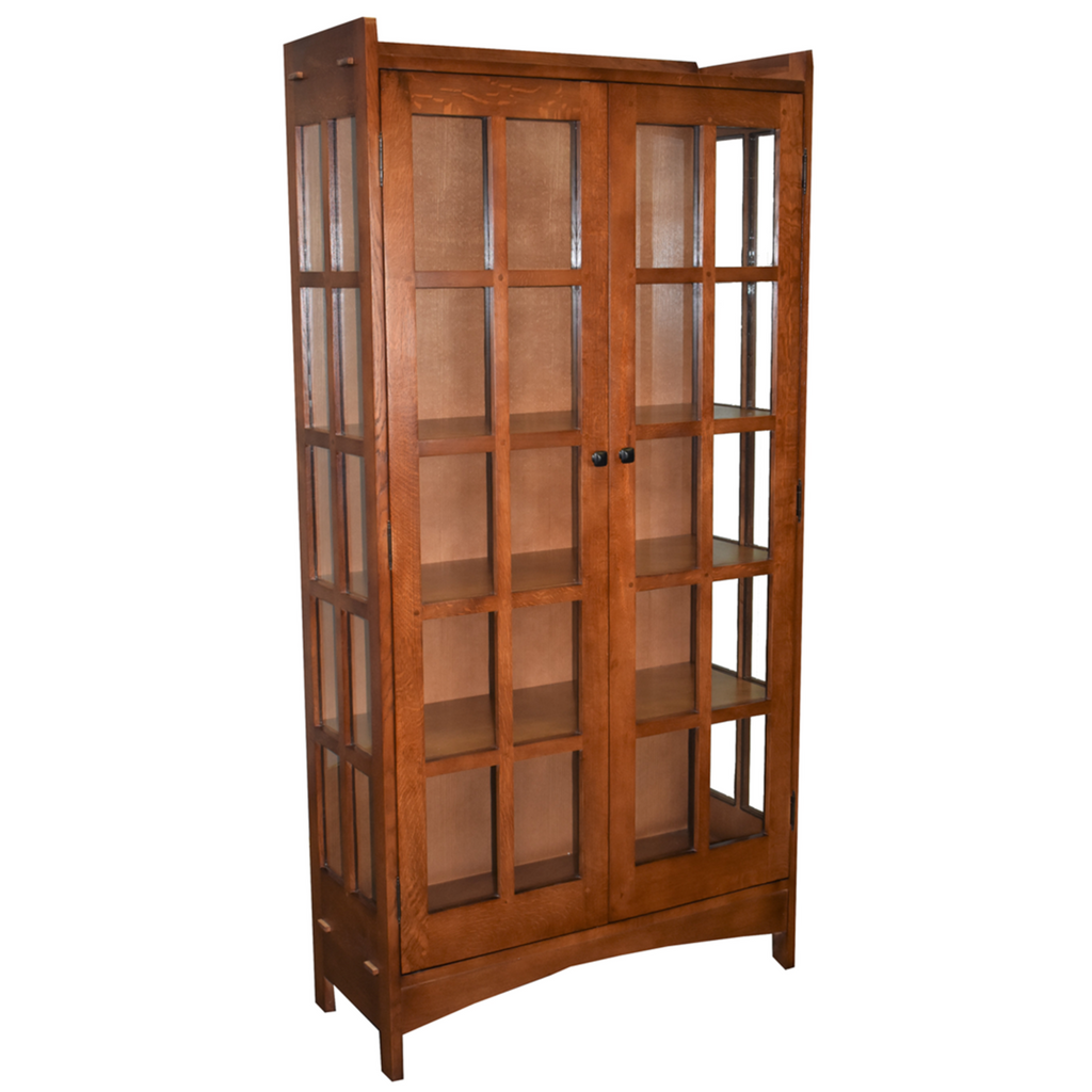 Mission Oak Display China Cabinet / Bookcase - Golden Brown