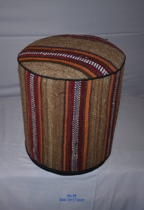 One of a Kind Kilim Rug Pouf Ottoman foot stool - #48