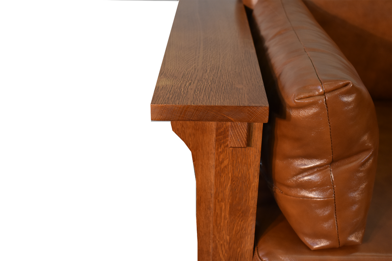Crofter Style Love Seat - Light Brown Leather