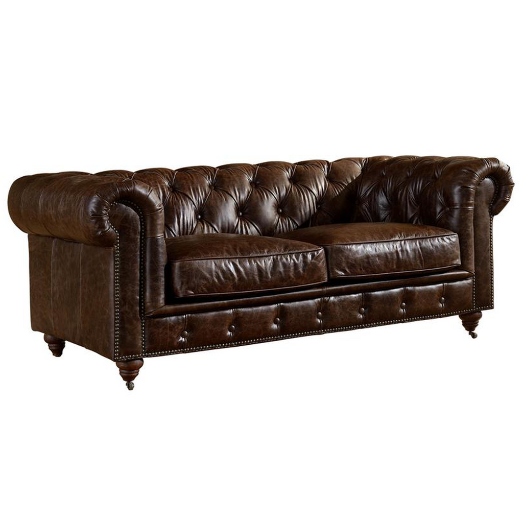 Century Chesterfield Love Seat - Dark Brown Leather