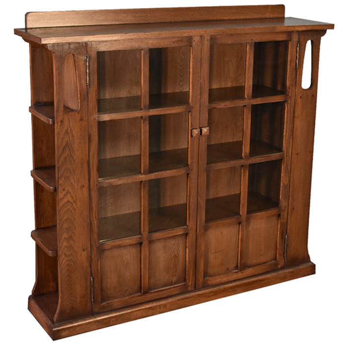 Mission Double Door Bookcase with Side Shelves - Walnut (W1)