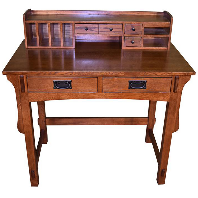 Legacy Mahogany Wood Leather Top Kidney Desk - Light Brown Walnut