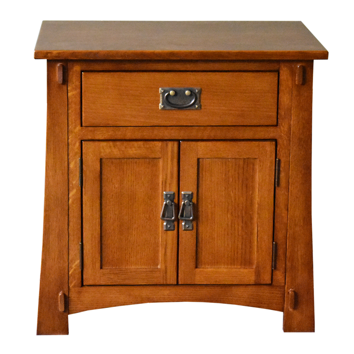 PREORDER Mission Style Solid Oak Nightstand Model A3 - Michael's Cherry Stain