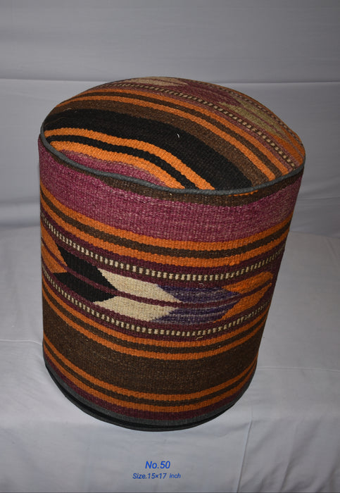 One of a Kind Kilim Rug Pouf Ottoman foot stool - #50