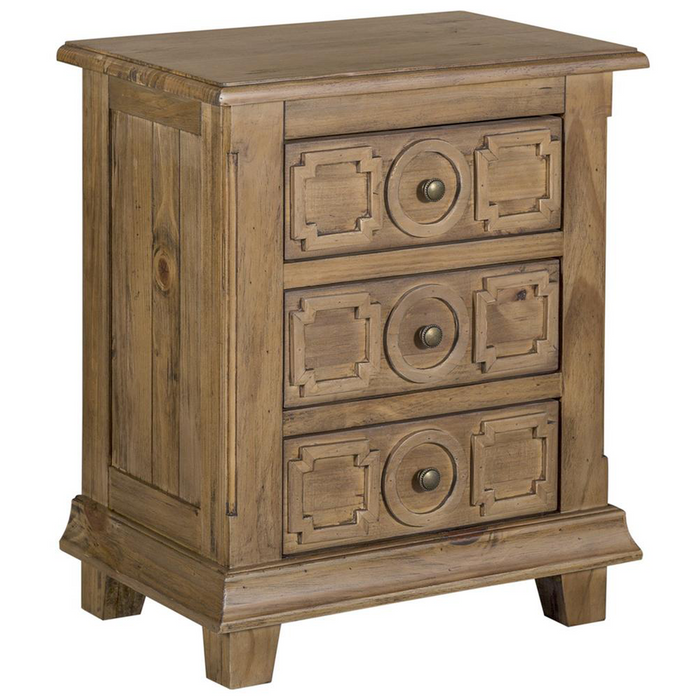Asbury 3 Drawer Carved Nightstand