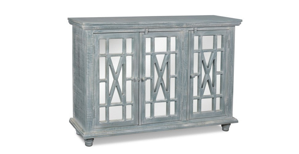 Keystone Aqua Mirrored Sideboard - Crafters & Weavers