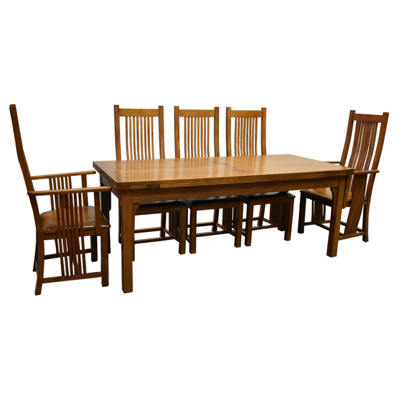 Mission Stow Leaf Table & High Back Chair Dining Set - Light Oak