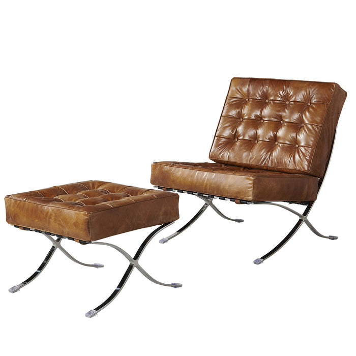 Francisco Modern Curule Style Chair and Ottoman Set - Brown Leather