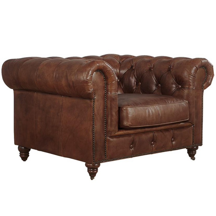 Century Chesterfield Arm Chair - Medium Brown Leather