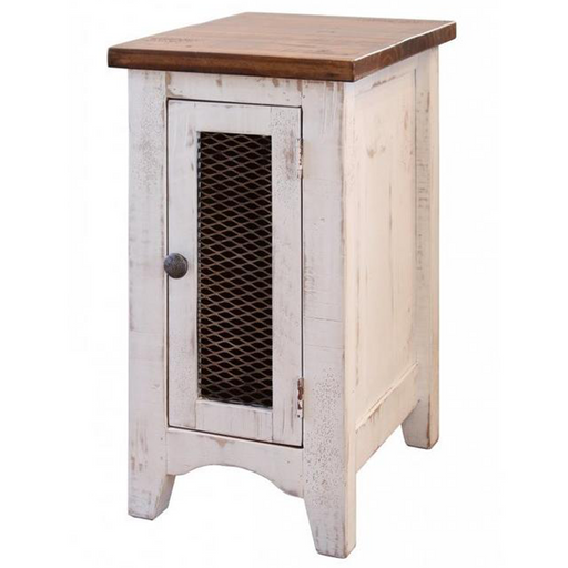 Greenview One Door Side Table - Distressed White - Crafters and Weavers