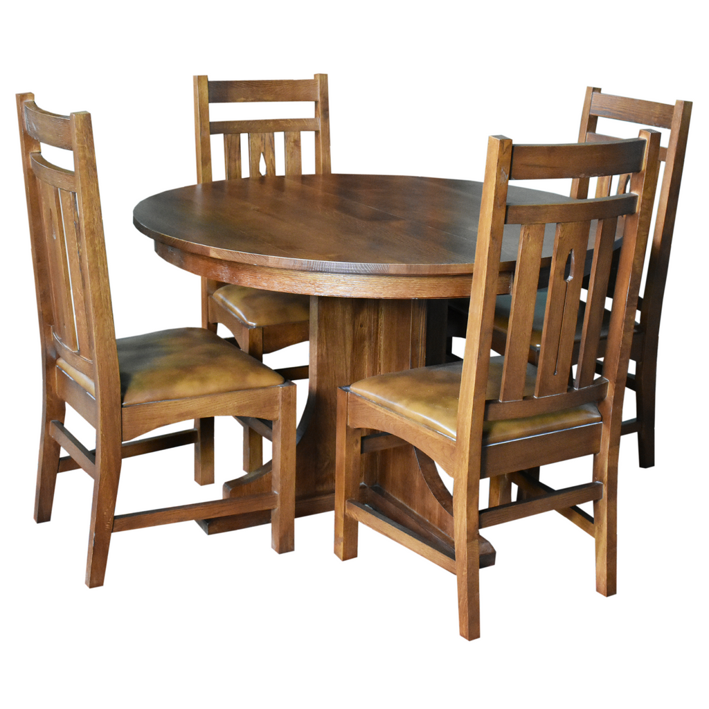 2 Leaf Round Dining Table Set w/ 6 Chairs - Golden Brown
