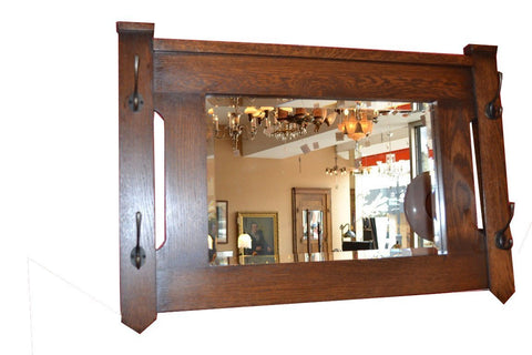 Arts and Crafts Mission Oak Bevelled Mirror with cut out