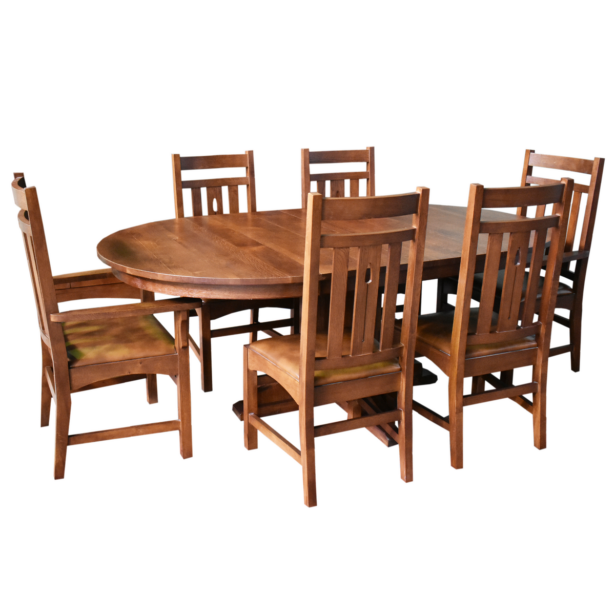 Picture of: 2 Leaf Round Dining Table Set W 6 Chairs Golden Brown Crafters And Weavers