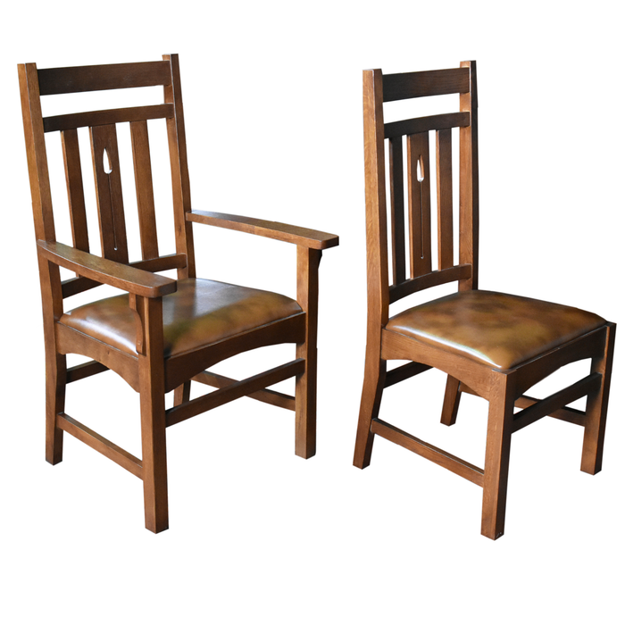 Set of 6 - Arts & Crafts / Mission Arrow Back Dining Chairs