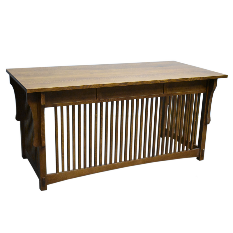 Mission Style Solid Quarter Sawn Oak Office Desk with Dovetail Drawers - Crafters and Weavers