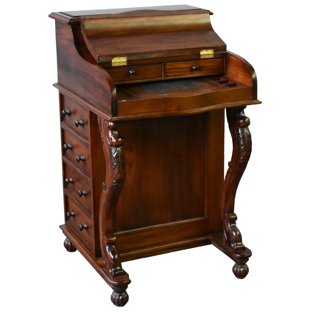 Legacy Mahogany Wood Captain's Desk - Brown Walnut