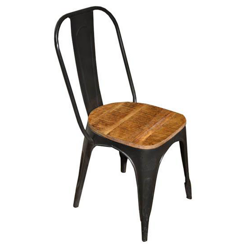 Ashland Wood Seat Forged Iron Chair