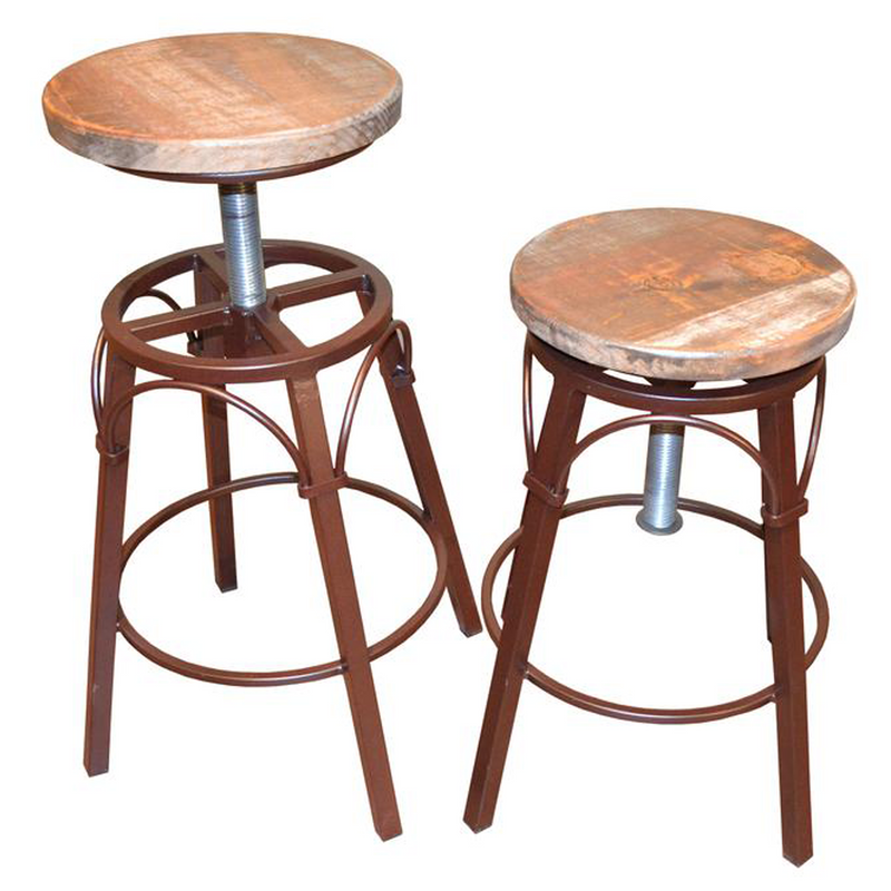 "Granville Stationary Bar Stool - Rustic Brown/White - 24"" High"