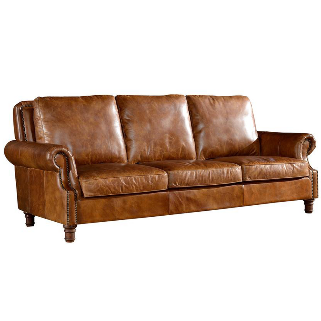 English Rolled Arm Sofa - Light Brown Leather