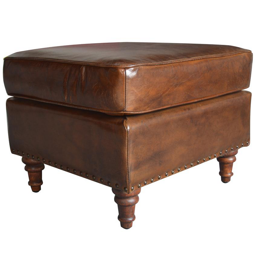 English Stationary Leather Ottoman - Medium Brown