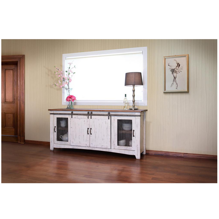 Greenview Sliding Door Distressed White TV Stand - 80""