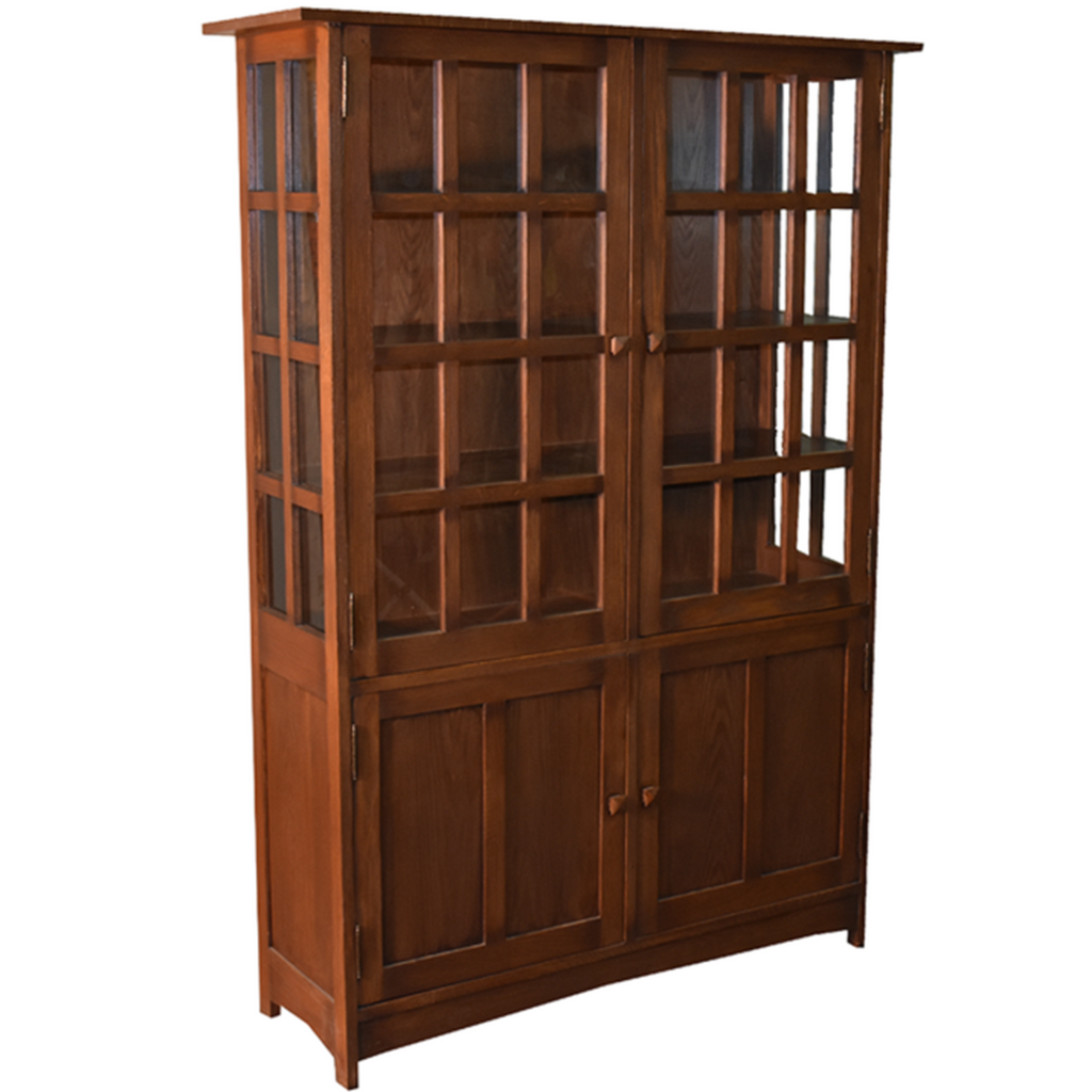 Mission Oak 4 Door Display China Cabinet - Med/Drk