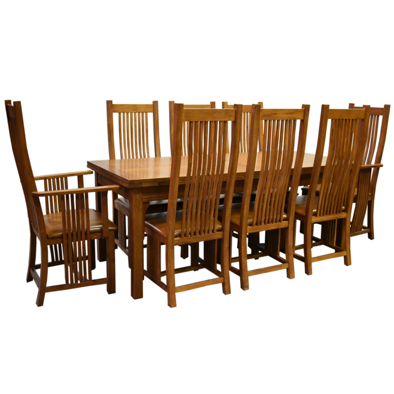 "Granville Parota 78"" Iron Base Dining Table Set with 6 Chairs"