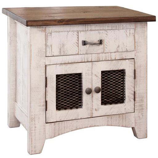 Greenview 2 Door Nightstand - Distressed White - Crafters and Weavers