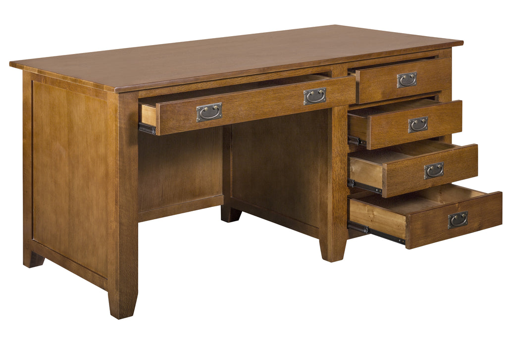 Mission Style Solid Quarter Sawn Oak Office Desk with Dovetail Drawers- Crafters and Weavers