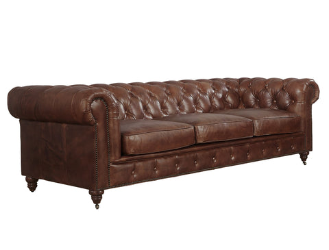 Leather Chesterfield Sofa - Medium Brown Leather