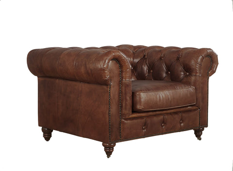 Leather Chesterfield Arm Chair - Medium Brown Leather