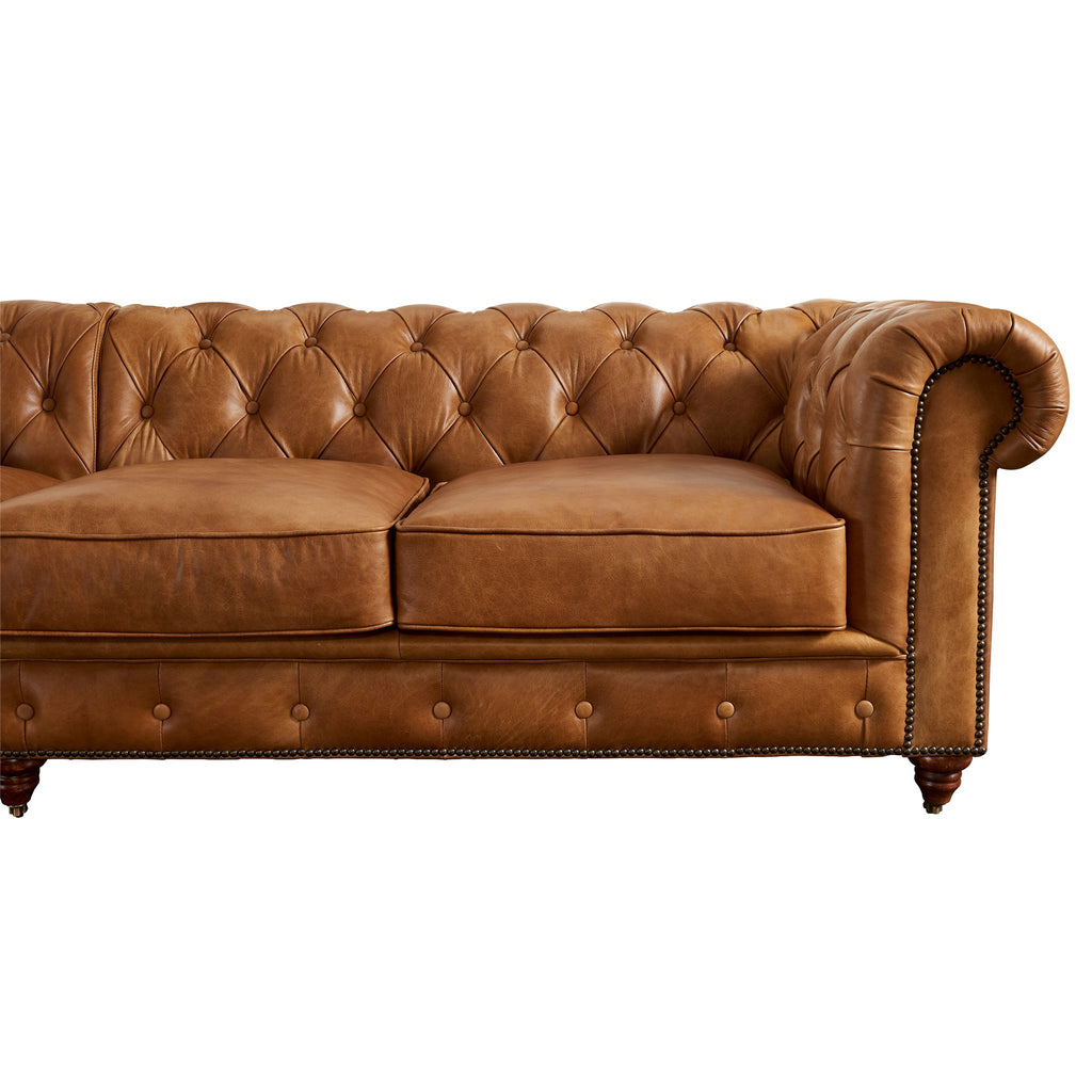 Century Chesterfield Sofa - Light Brown Leather - 118""
