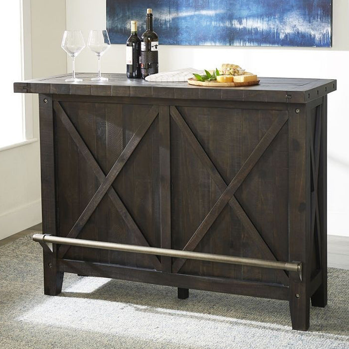 "Oak Park Cross Bar Table and Wine Cabinet - 55""W"