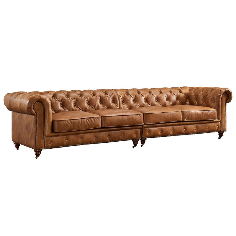 Century Chesterfield Sofa - Light Brown Leather - 118\