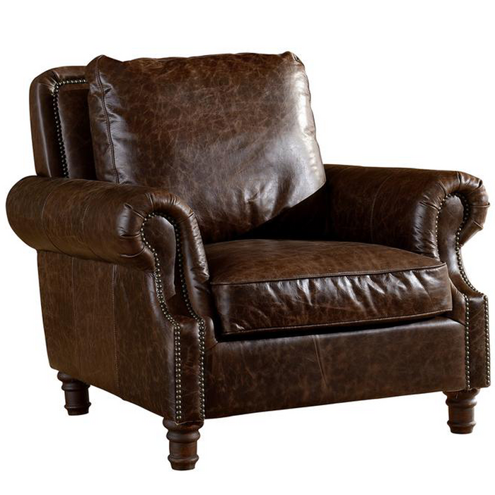 English Rolled Arm - Arm Chair - Dark Brown Leather