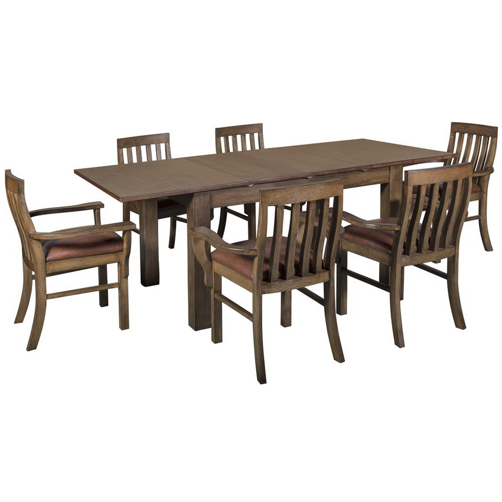 Mission Style Square Leg Dining Table Set with 6 Chairs