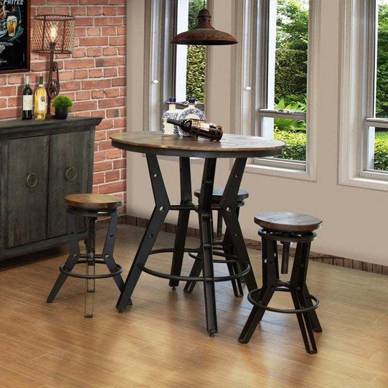 "Clinton 39"" Round Pub Table Set - Metal Base"