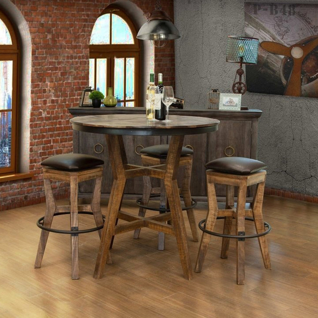 "Clinton 39"" Round Pub Table Set - Wood Base"