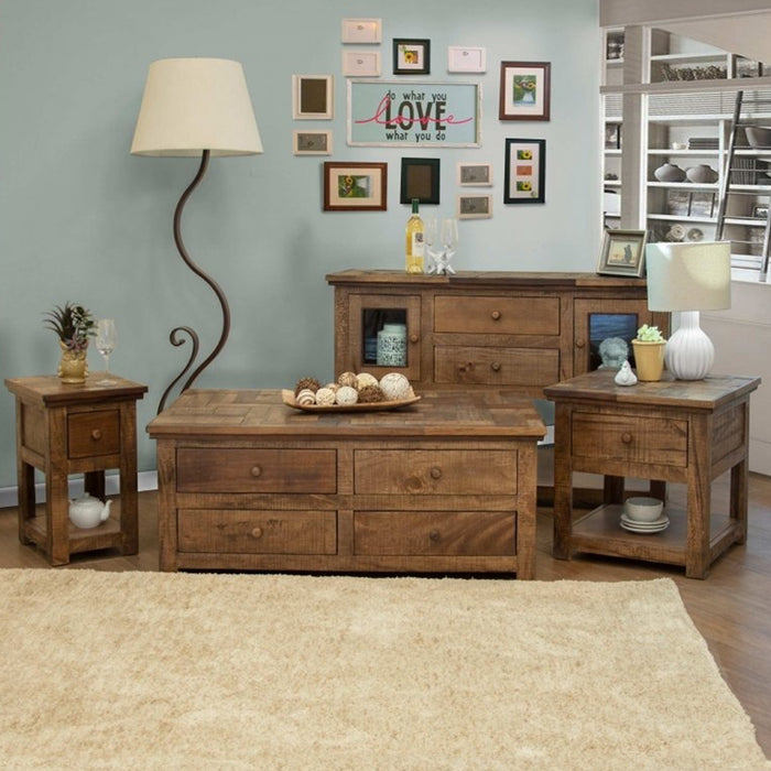 Clinton Rustic Hopscotch Top 8 Drawer Coffee Table