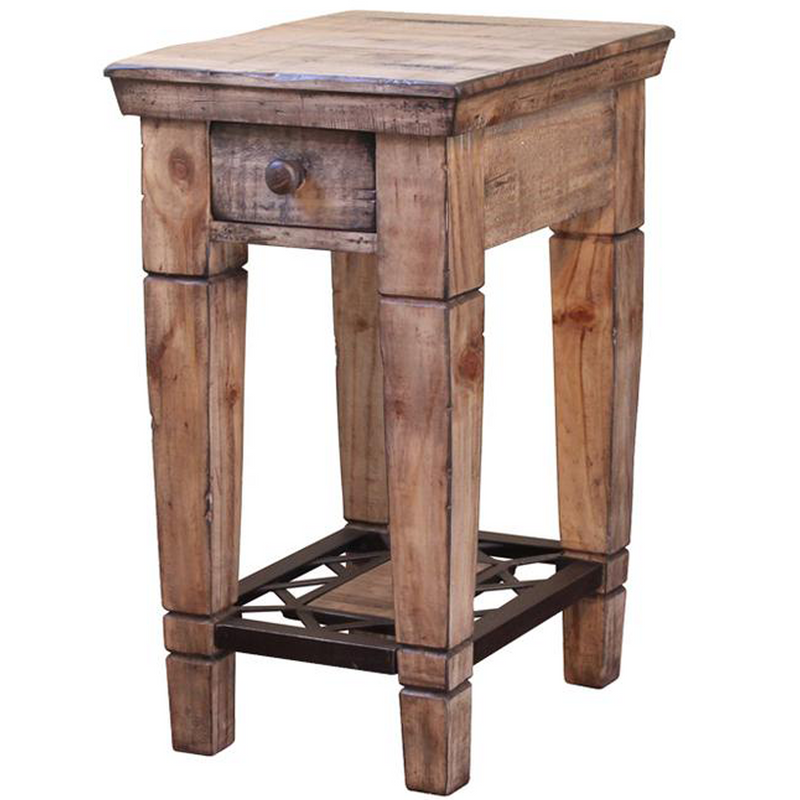 LAST ONE! Greenview Bleached Side Table - Wrought Iron Base