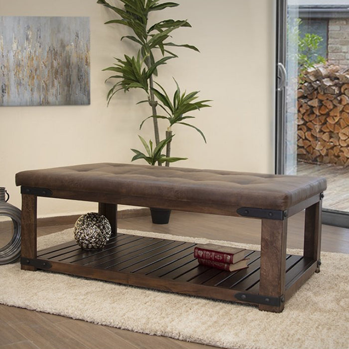 Granville Parota Wood Upholstered Bench / Coffee Table